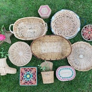 DIY Statement Basket Wall Set of 12 Trivets Wicker